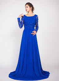 evening gowns royal blue floor length lace evening gown with rhinestone