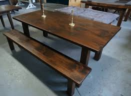 farm table and farm bench on square legs lorimer workshop