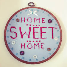 home sweet home hand embroidered embroidery hoop wall hanging on