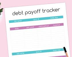 Debt Payoff Spreadsheet Excel Debt Payoff Tracker Worksheet Budget Printable