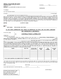 waiver of lien template lien waiver template forms fillable printable sles