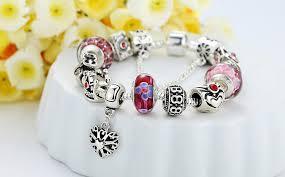 murano glass bangle bracelet images Pandora replica bangle bracelet pink murano glass beads silver charms jpg