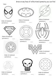 superhero symmetry rotation and reflection worksheet superhero