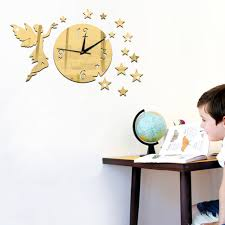 tinkerbell wall clock promotion shop for promotional tinkerbell funlife 55 40cm 21 7 15 7in diy tinkerbell stars mirror wall clock modern novelty quartz stylish decorative safe for bedroom
