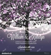 Card For Wedding Invites Wedding Invitation With Glowing Lights On The Tree Garden Party