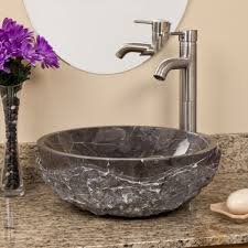 round chiseled marble vessel sink dark emperador marble bathroom zoom