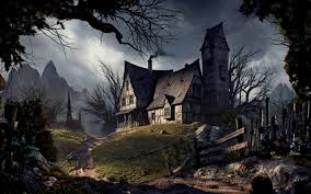 halloween barn background old house on a hill full hd wallpaper and background 2560x1600