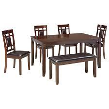 contemporary 6 piece dining room table set with bench by signature contemporary 6 piece dining room table set with bench