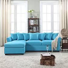 amazon com modern large linen fabric sectional sofa l shape
