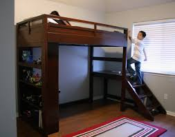 bunk bed with desk and stairs slide tray ceiling exterior