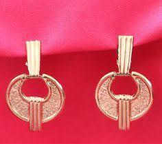 eighties earrings 80 s style gold tone clip on cross earrings by hoardersbazaar on