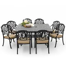 9 Pc Patio Dining Set - rosedown 9 piece cast aluminum patio dining set with square table