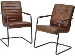 Leather Dining Chair Rodeo Ribbed Leather Dining Chairs Set Of 2 Leather Dining Chairs