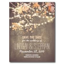 electronic wedding invitations string lights rustic save the date postcards blooming trees