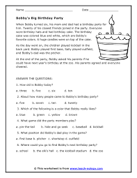 free reading comprehension worksheets worksheets