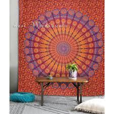orange yellow maroon mandala hippie tapestry bedding