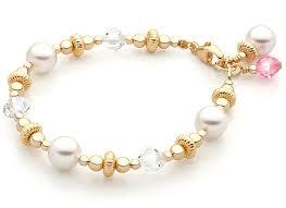 childrens gold bracelets pearls 14k gold baby children s beaded bracelet