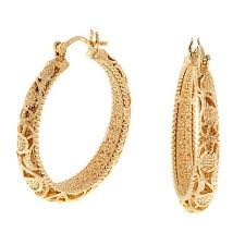 hoop earings bellezza bronze filigree hoop earrings 8597667 hsn