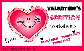free valentines addition worksheets packet blessed doubt