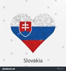 Slovak Flag Slovakia Flag Heart Geometricmosaic Polygonal Stylelove Stock
