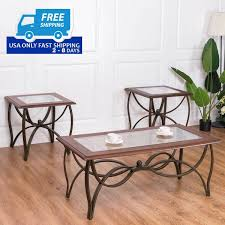 glass coffee table set of 3 3 pcs elegant wood glass coffee table set by choice products