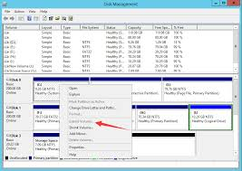 windows server 2012 disk management unallocated space