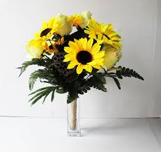 silk sunflowers yellow silk sunflowers soft green roses bouquet brown lotus