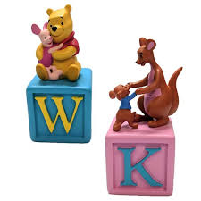 set of 2 winnie the pooh alphabet block collectible figurines