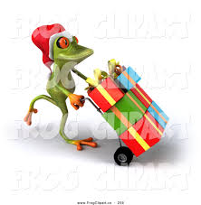 clip of a festive green tree frog pushing gifts