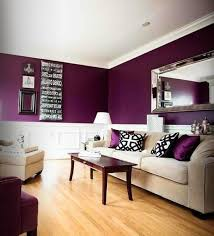 popular living room paint color ideas purple walls white furniture