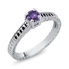 black and purple engagement rings 0 32 ct purple amethyst black 925 sterling silver