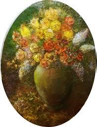 Acrylic Flower Vases Sylva Zalmanson Artwork Flowers In A Green Vase Original