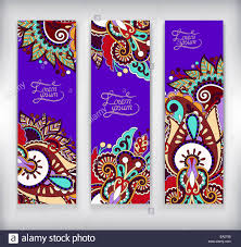 set of decorative violet colour flower template banner stock photo