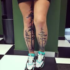 forest trees tattoos on both legs tree tats
