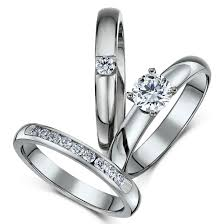 wedding ring sets uk titanium bridal set engagement eternity and cz ring