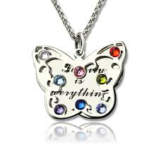 birthstone mothers necklace engraved s butterfly necklace with birthstone