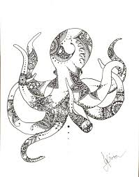 plume et encre style pieuvre henné dessin imprimé plage