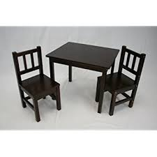 amazon com kidkraft rectangle table and 2 chair set espresso