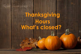 special thanksgiving hours