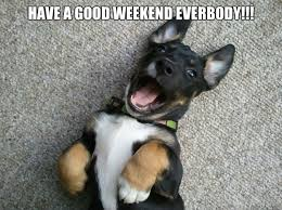 Happy Weekend Meme - have a good weekend everbody happy puppy quickmeme
