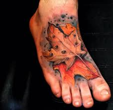 maple leaf tattoo on foot creativefan