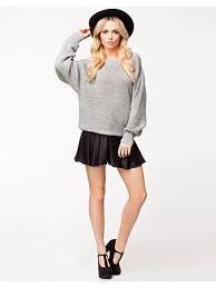 vila toj knit top vila grå melange trøjer tøj kvinde nelly