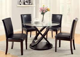 beautiful round glass dining tables with wood round legs and 4