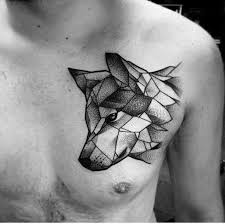 black ink geometric dog head tattoo on man left chest