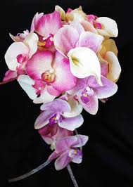 wedding flowers orchids touch pink and fuchsia real touch orchids bouquet