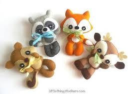 Raccoon Nursery Decor Woodland Animals Set Of Four Pdf Sewing Pattern Deer Fox Raccoon
