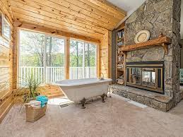 Pine Ceiling Boards by Rustic Master Bathroom With Carpet U0026 High Ceiling In Roswell Ga