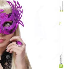 background halloween fashion with carnival mask and purple ring over white