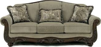 traditional sofas with wood trim martinsburg meadow traditional sofa with wood trim accents fabric
