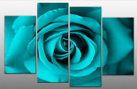 turquoise roses single on on 4 panel canvas wall print turquoise